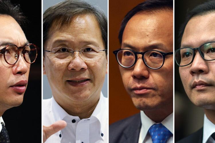 Bốn nghị sĩ đối lập Hong Kong bị truất quyền hôm nay, từ trái qua phải gồm: Alvin Yeung Ngok-kiu, Kwok Ka-ki, Kenneth Leung và Dennis Kwok. Ảnh: SCMP.