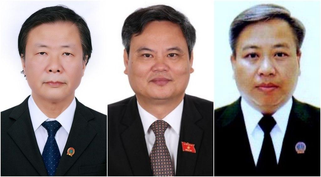 Tân Thẩm phán Tòa án nhân dân tối cao (từ trái qua): ông Ngô Hồng Phúc, Trần Hồng Hà, Phạm Quốc Hưng. Ảnh: PV