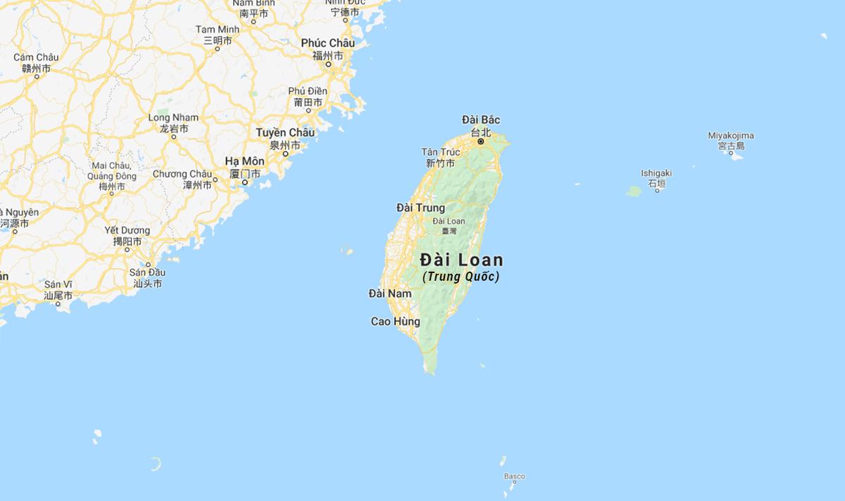 Vị trí eo biển Đài Loan nằm giữa đảo Đài Loan và Trung Quốc đại lục. Đồ họa: Google.