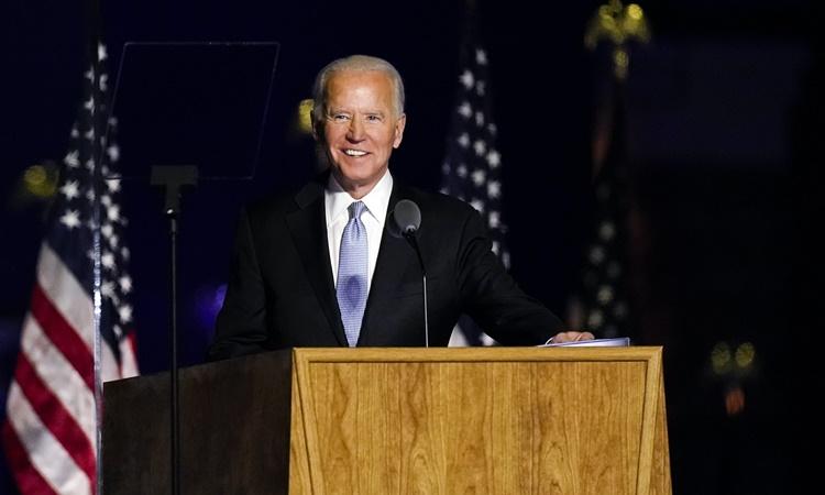 Joe Biden phát biểu tại Wilmington, Delaware, ngày 7/11. Ảnh: AP.