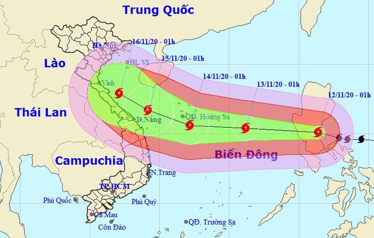 Dự kiến hướng đi và vùng ảnh hưởng của bão Vamco, cơn bão thứ 13 trong năm nay. Ảnh: NCHMF.