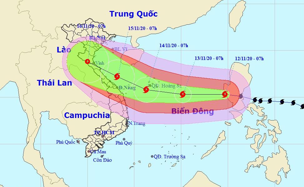 Dự kiến hướng đi và vùng ảnh hưởng của bão Vamco, cơn bão thứ 13 trong năm nay. Ảnh: NCHMF