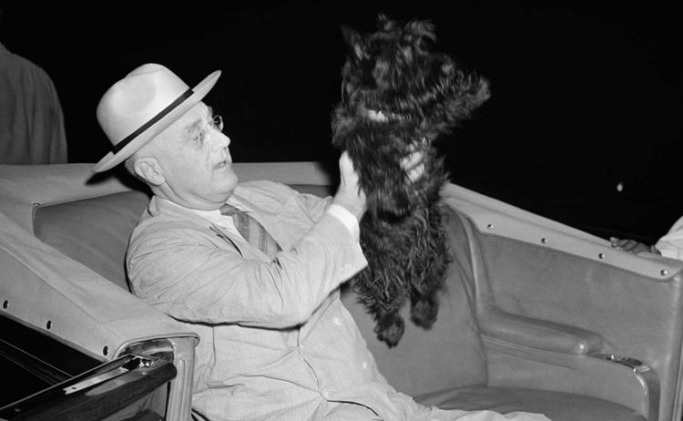 Tổng thống Franklin Roosevelt và chú chó cưng Fala. Ảnh: AP.