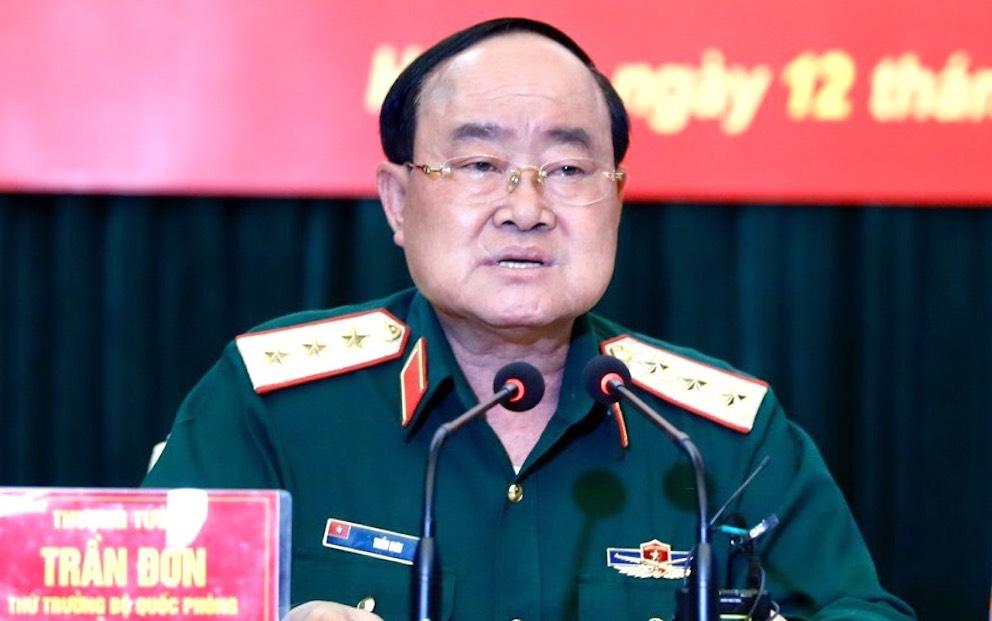 Thượng tướng Trần Đơn phát biểu tại cuộc họp Ban chỉ đạo phòng chống Covid-19 của Bộ Quốc phòng chiều 12/11. Ảnh: Hiếu Duy