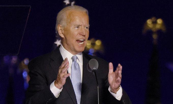 Tổng thống đắc cử Joe Biden phát biểu chiến thắng hôm 7/11. Ảnh: Reuters.