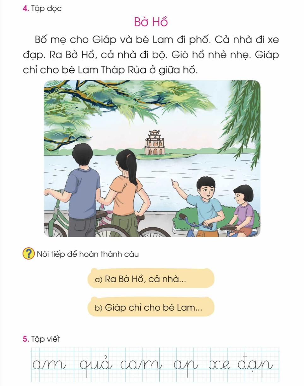 Bài tập đọc Bờ Hồ giáo viên có thể sử dụng thay thế cho bài Ve và gà (1).