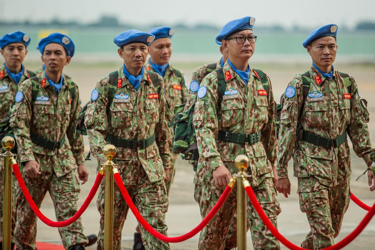Lực lượng gìn giữ hòa bình Việt Nam xuất quân làm nhiệm vụ quốc tế, tháng 10/2018. Ảnh: Thành Nguyễn
