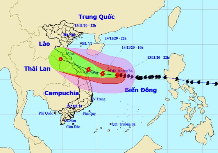 Dự kiến hướng đi và vùng ảnh hưởng của bão. Ảnh: NCHMF