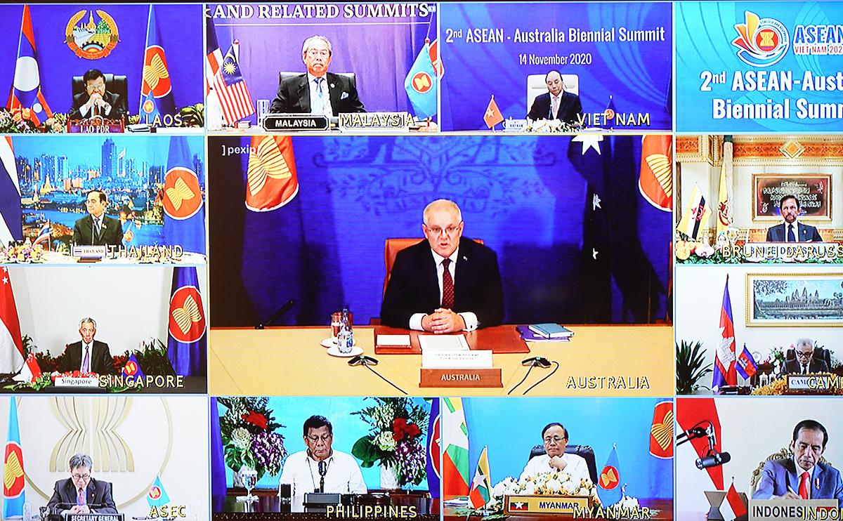 Lãnh đạo các nước ASEAN và Thủ tướng Australia Scott Morrison tại Hội nghị Cấp cao ASEAN - Mỹ ngày 14/11. Ảnh: VGP.