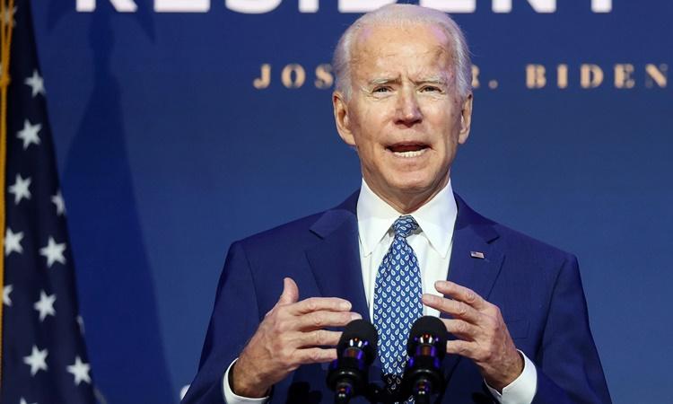 Tổng thống đắc cử Mỹ Joe Biden phát biểu tại Wilmington, Delaware, ngày 9/11. Ảnh: Reuters.
