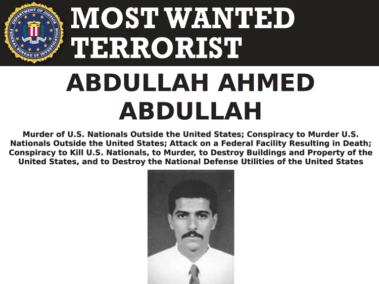 Abu Muhammad al-Masri trong danh sách khủng bố bị truy nã của FBI. Ảnh: FBI.
