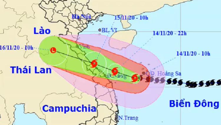 Dự kiến hướng đi và vùng ảnh hưởng của bão Vamco. Ảnh: NCHMF