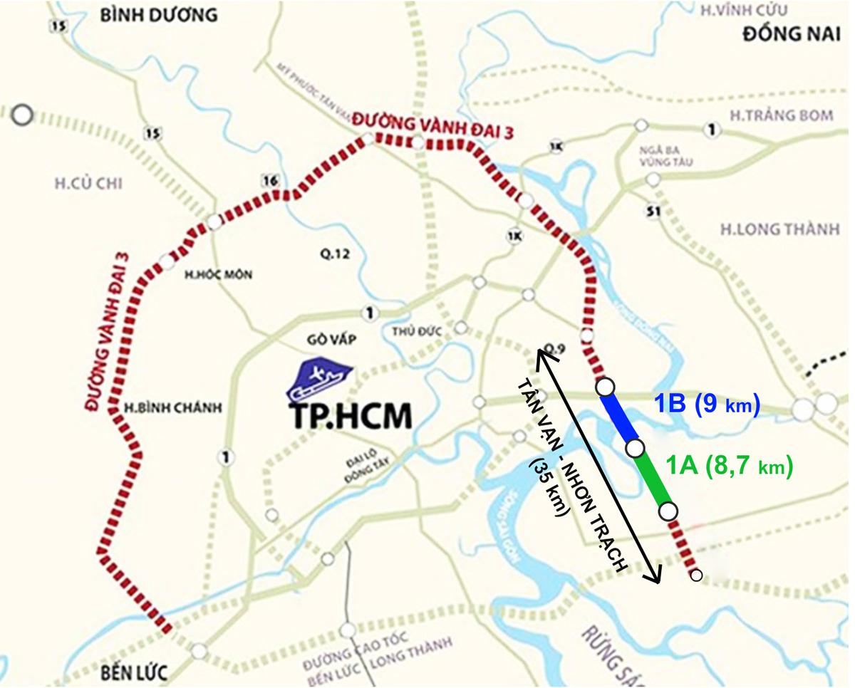 Hai dự án 1A và 1B thuộc Vành đai 3 TP HCM. Đồ họa: Thanh Huyền.
