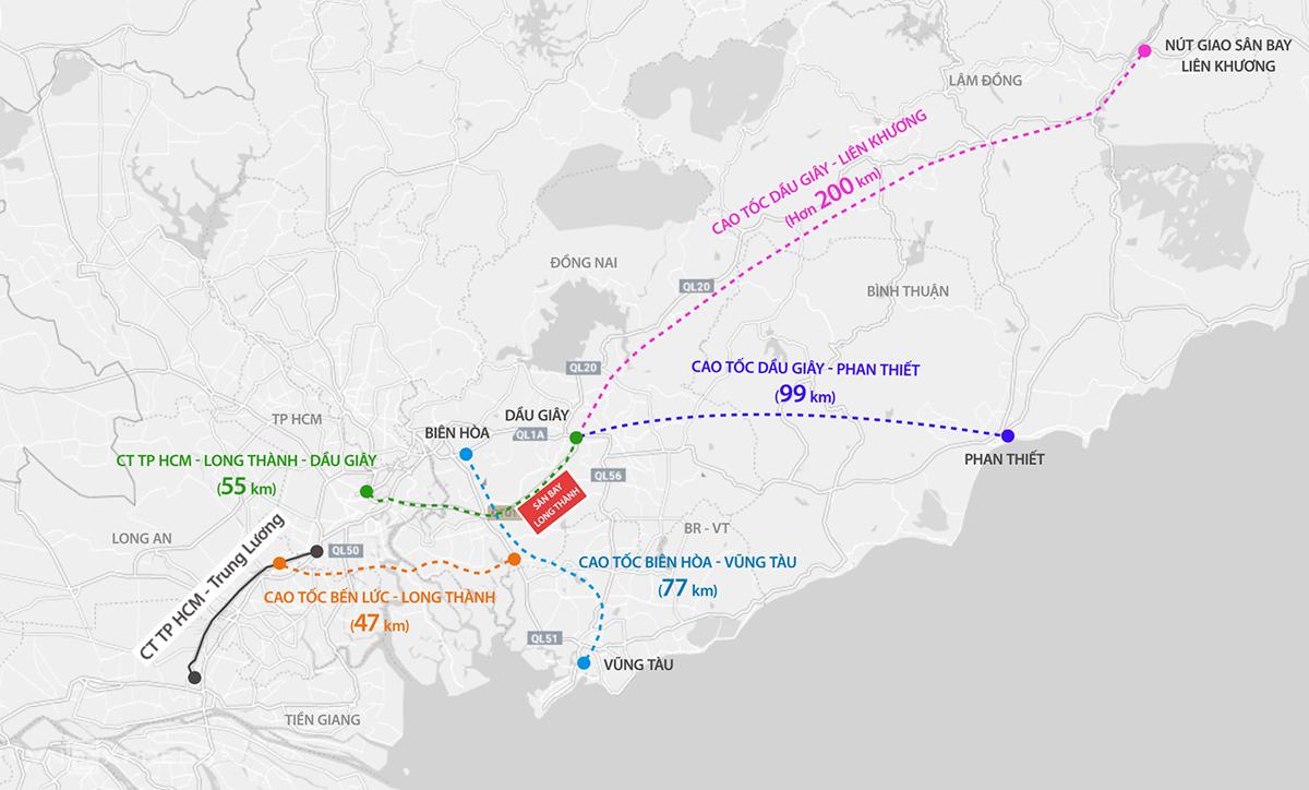Dầu Giây - Phạn Thiết là một trong năm cao tốc kết nối với sân bay Long Thành. Đồ hoạ: Thanh Huyền.