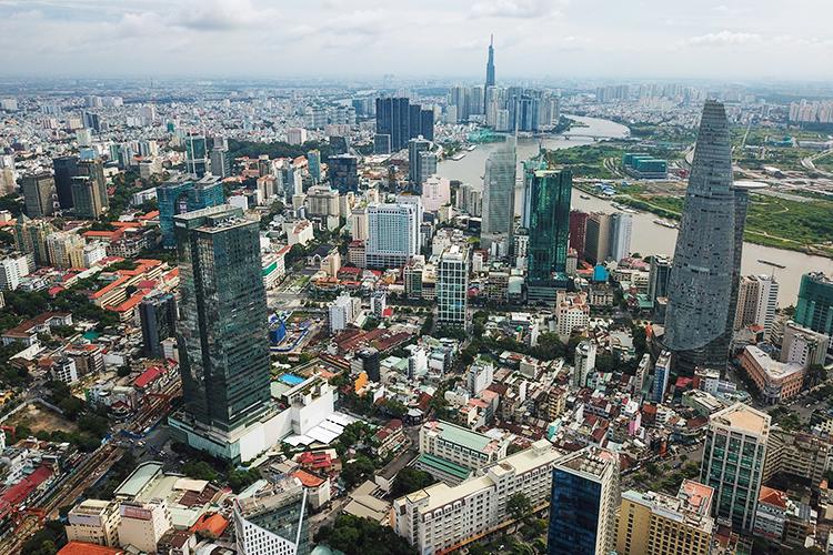 Trung tâm TP HCM nhìn từ trên cao vào tháng 10/2020. Ảnh: Quỳnh Trần