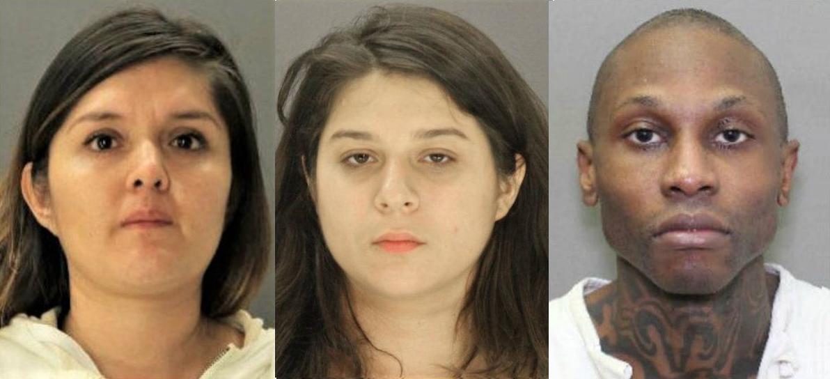 (từ trái qua) Brenda Delgado, Crystal Cortes, và Kristopher Love. Ảnh: Dallas County Jail/AP.