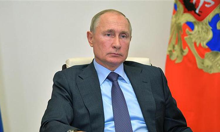 Tổng thống Vladimir Putin trong phiên họp trực tuyến tại dinh thự Novo-Ogaryov, ngoại ô Moskva hôm 29/9. Ảnh: AFP.