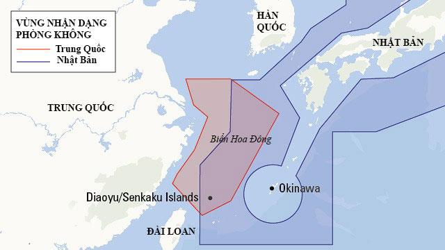 Vùng nhận dạng phòng không của Trung Quốc và Nhật Bản trên biển Hoa Đông. Đồ họa: BQP Nhật Bản.