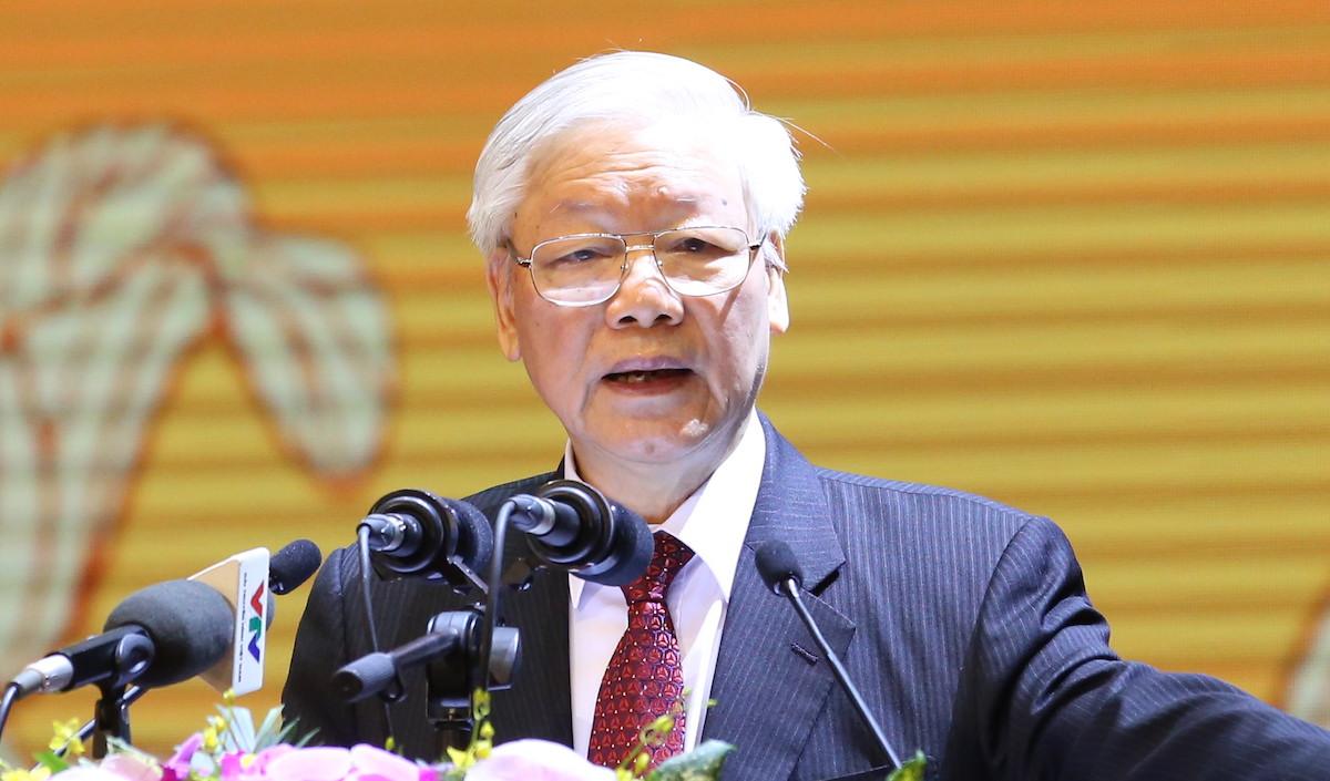 Tổng bí thư, Chủ tịch nước phát biểu tại lễ kỷ niệm 90 năm Mặt trận Tổ quốc Việt Nam. Ảnh: Quang Vinh