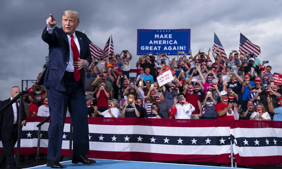 Tổng thống Donald Trump tại sự kiện tranh cử ở Winston-Salem, bang Bắc Carolina hồi tháng 9. Ảnh: AP.