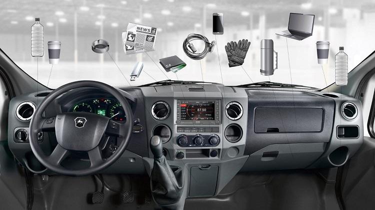 Cách bố trí hốc chứa đồ trong nội thất xe VAN Gazelle Next.