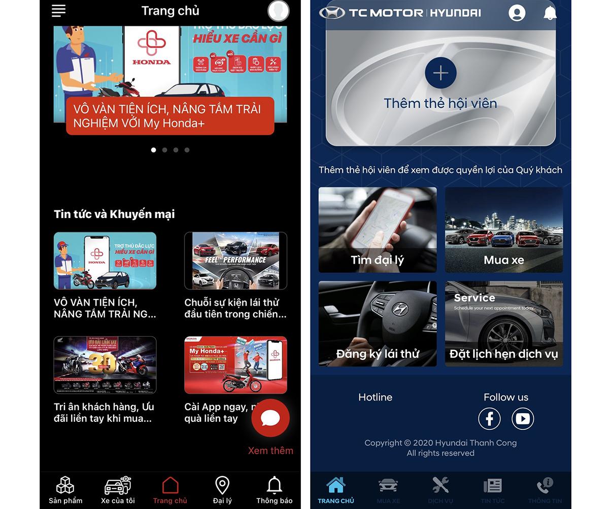 Hai ứng dụng cho khách của Honda và Hyundai.