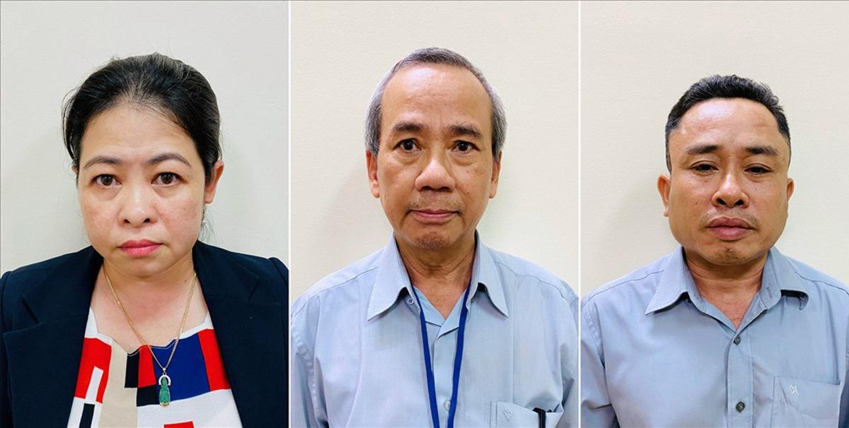 Từ trái sang phải, bị can Phan Thị Thùy Trang, Nguyễn Như Việt, Nguyễn Đăng Thuần. Ảnh: Cơ quan điều tra cung cấp