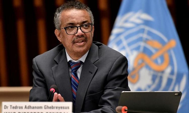 Tổng giám đốc WHO Tedros Adhanom Ghebreyesus họp báo ở Geneva, Thụy Sĩ hồi tháng 3. Ảnh: Reuters.
