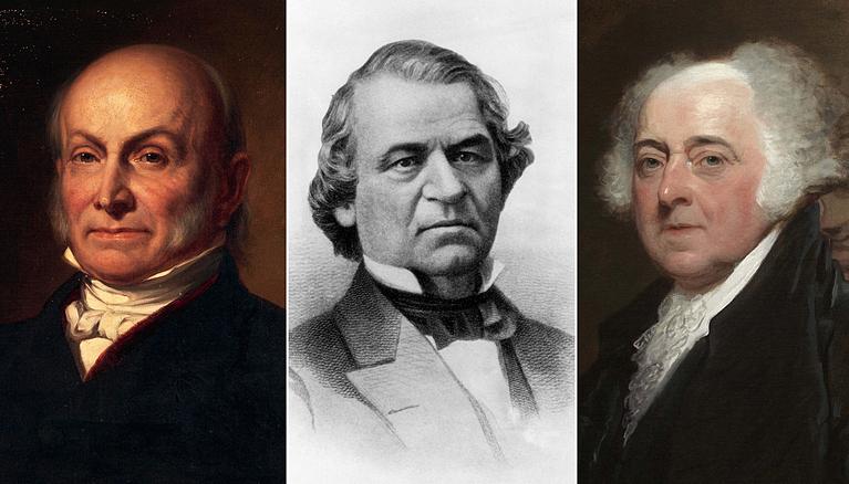 (Từ trái sang) Các tổng thống Mỹ John Quincy Adams, Andrew Johnson và John Adams. Ảnh: Shutterstock.