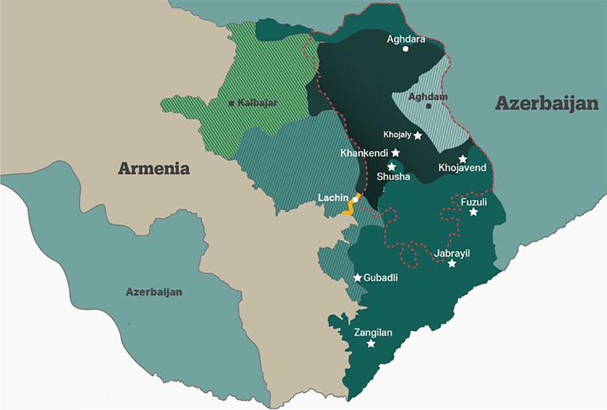 Khu vực Nagorno-Karabakh (trong đường viền đỏ) và huyện Aghdam (xanh ngọc nhạt, gạch chéo). Đồ họa: AA/TRT World.