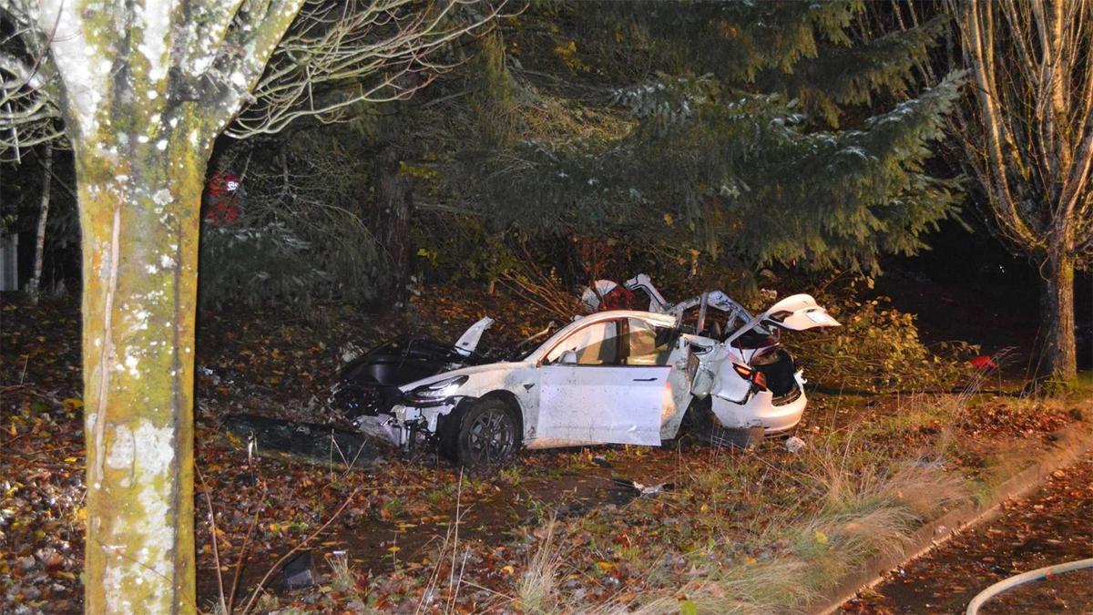 Xe diện đâm vào cây rồi cột điện, nằm lại dưới lề đường. Ảnh: Corvallis Police Department