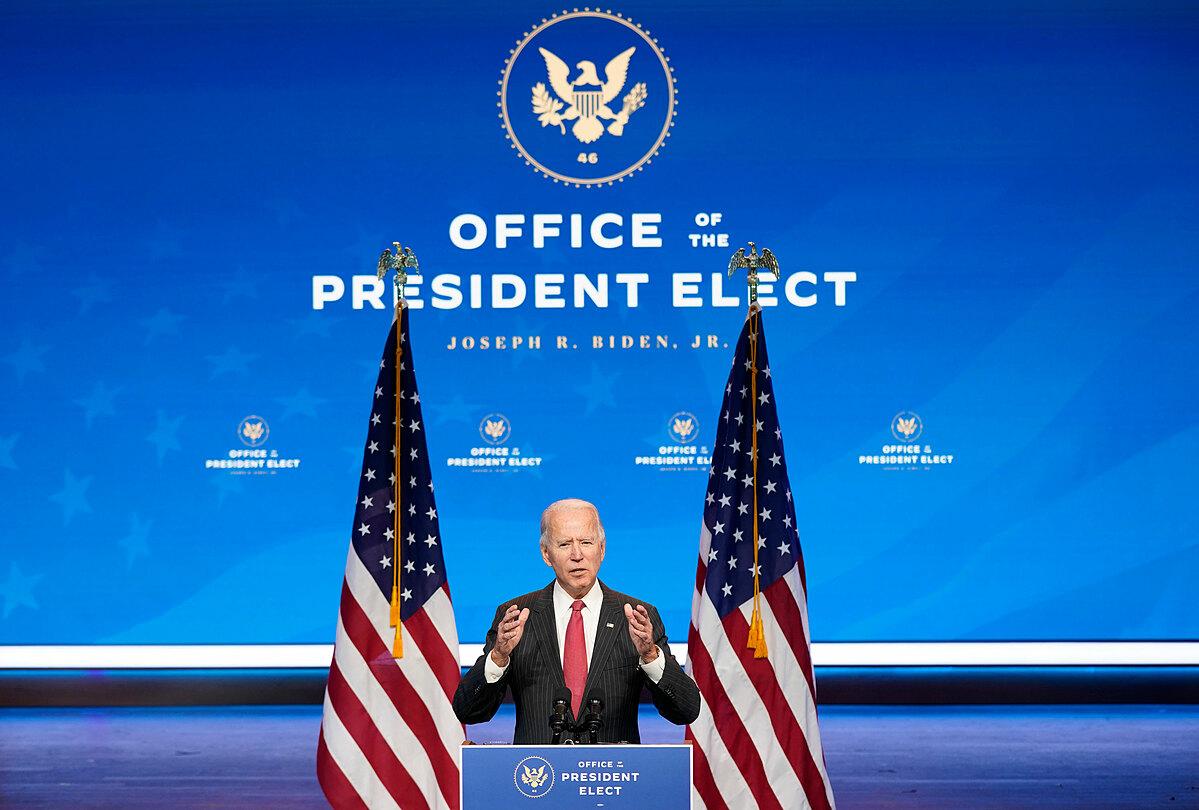 Tổng thống đắc cử Joe Biden phát biểu trong cuộc họp báo ở thành phố Wilmington, bang Delaware, hôm 19/11. Ảnh: AP.