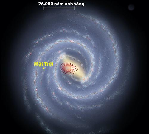 Thiên hà Heralces (các vòng màu đỏ) nằm bên trong dải Ngân Hà. Ảnh: Danny Horta-Darrington/NASA/JPL-Caltech/SDSS.