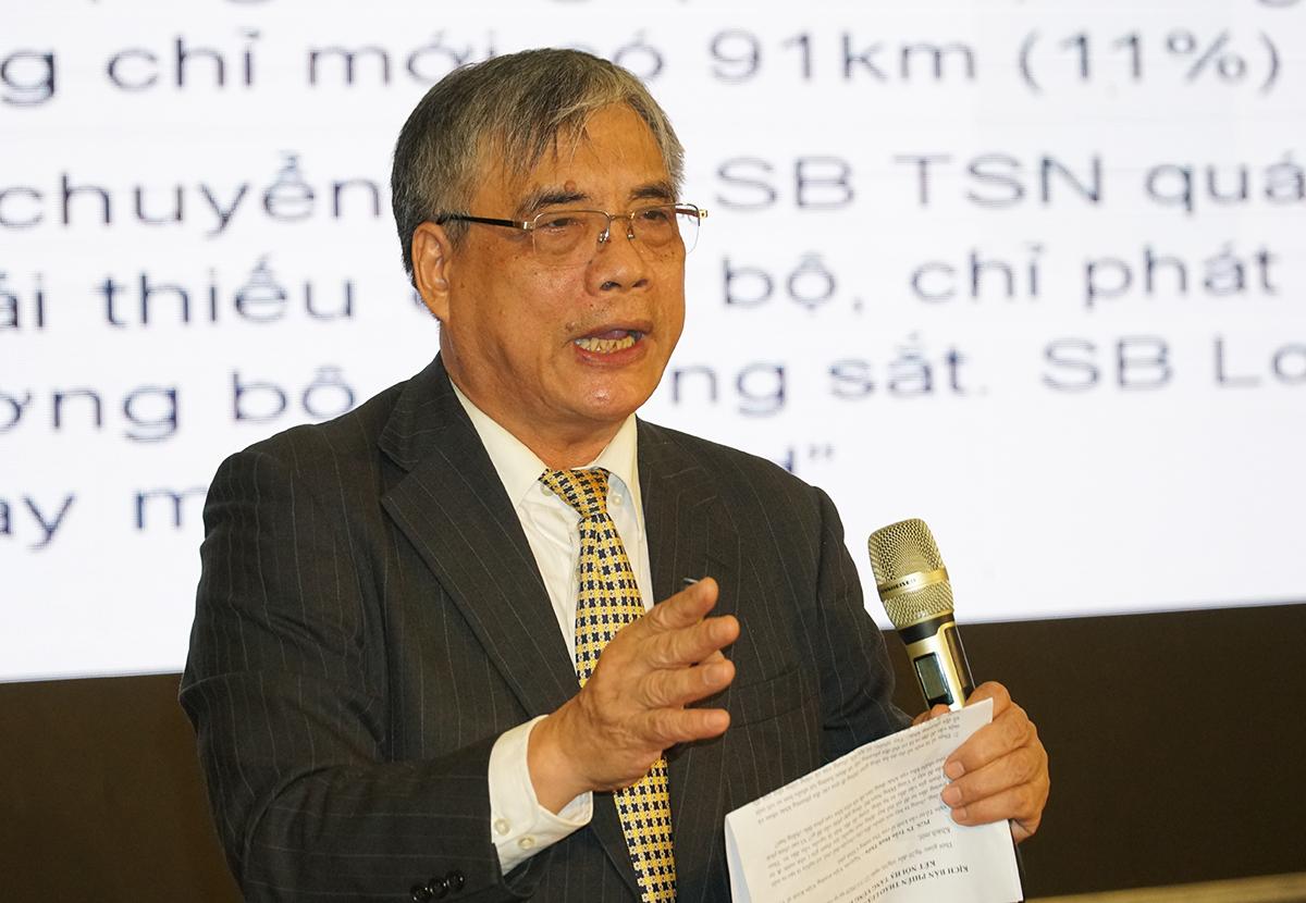 Ông Trần Đình Thiên trình bày tham luận tại hội thảo. Ảnh: Trường Hà.