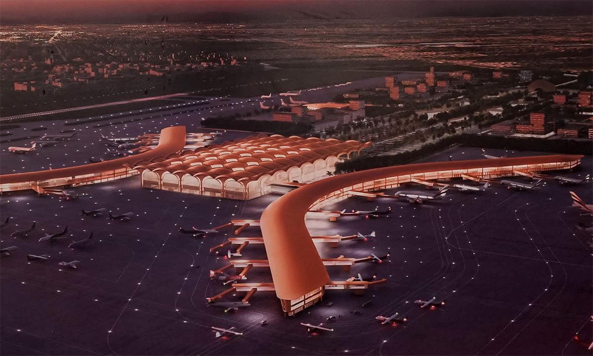 Phối cảnh sân bay quốc tế mới gần thủ đô Phnom Penh của Campuchia. Đồ họa: Foster&Partners.