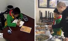 Cậu bé đến đồn cảnh sát làm bài tập vì bố mẹ đón trễ