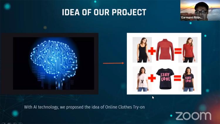 Đội thi trình bày ý tưởng trước hội đồng giám khảo và các cố vấn chuyên môn bằng hình thức trực tuyến. Ảnh chụp màn hình.