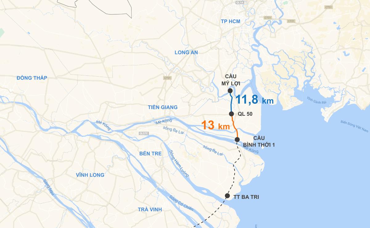 Tuyến đường ven biển kết nối miền Tây với TP HCM, trong đó đoạn qua Tiền Giang dài gần 25 km đã được Trung ương đồng ý chủ trương đầu tư. Đồ hoa: Thanh Huyền.