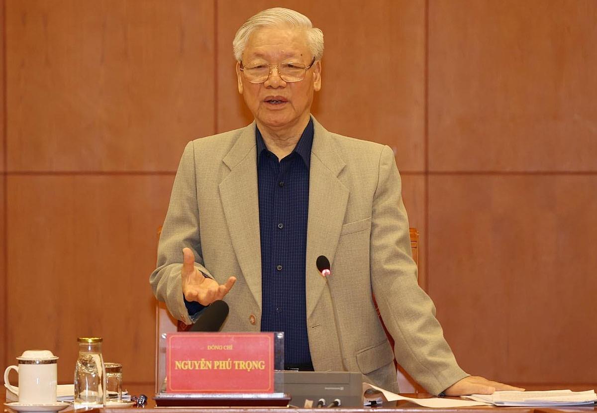 Tổng bí thư, Chủ tịch nước Nguyễn Phú Trọng chủ trì cuộc họp Thường trực Ban chỉ đạo phòng chống tham nhũng trong sáng 25/11. Ảnh: TTXVN