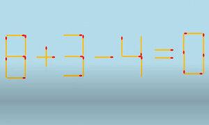 Di chuyển một que diêm để 8 + 3 - 4 = 0