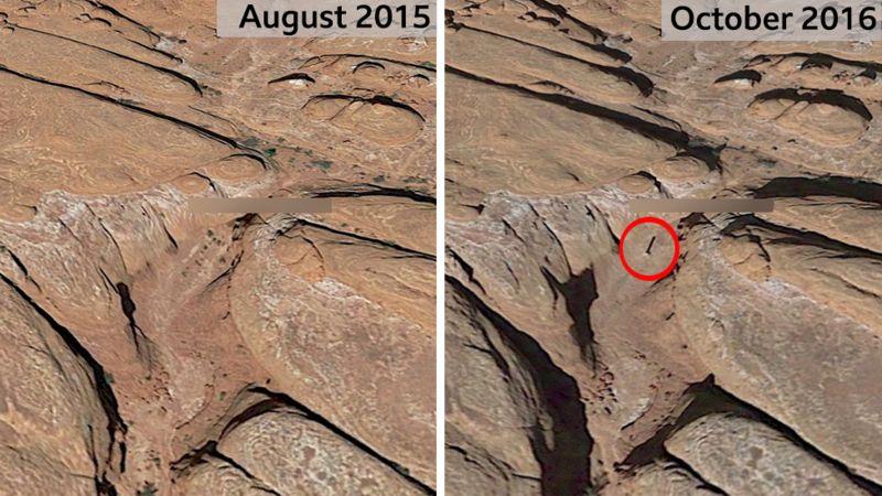 Hình ảnh vệ tinh cho thấy chiếc cột xuất hiện vào tháng 10/2016. Ảnh: Google Earth.