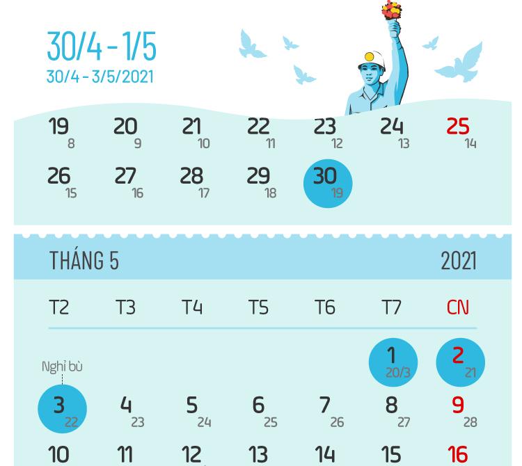 Các ngày nghỉ lễ năm 2021 - 6