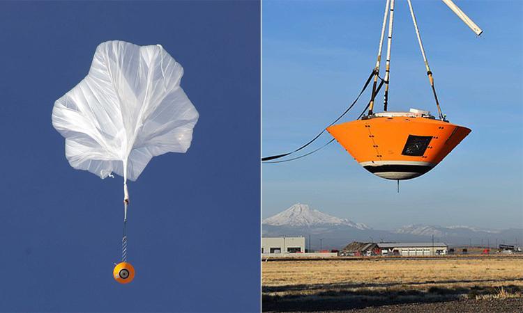 Thử nghiệm thả rơi trạm đổ bộ sao Hỏa với dù trên sa mạc Oregon, Mỹ. Ảnh: PA.