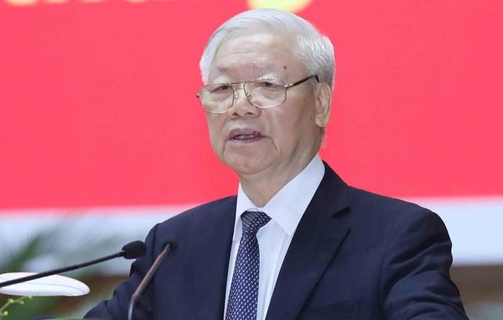 Tổng bí thư, Chủ tịch nước Nguyễn Phú Trọng phát biểu tại Hội nghị ngày 27/11. Ảnh: TTX