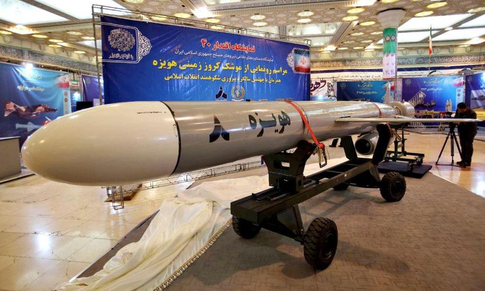 Tên lửa hành trình tầm xa Hoveizeh được Iran trưng bày hồi năm 2019. Ảnh: AFP.