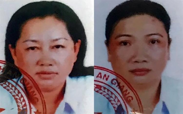 Nguyễn Thị Kim Hạnh (trái) và Lê Thị Bạch Vân. Ảnh: An Phú