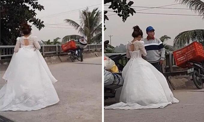 Cô dâu chạy ra lấy hàng khi đang làm lễ cưới