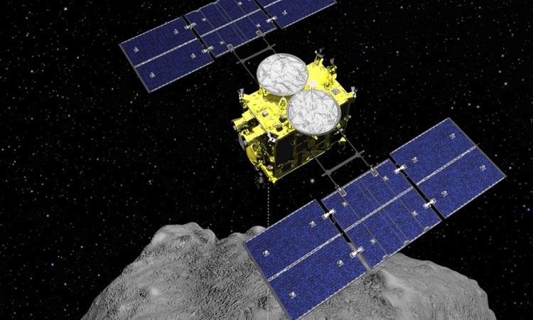 Tàu vũ trụ Hayabusa2 sắp hoàn thành nhiệm vụ lấy mẫu vật tiểu hành tinh. Ảnh: JAXA.