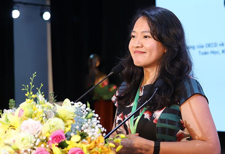 Bà Lê Diệp Kiều Trang nói về việc xuất khẩu tại chỗ trí tuệ Việt Nam. Ảnh: AT.