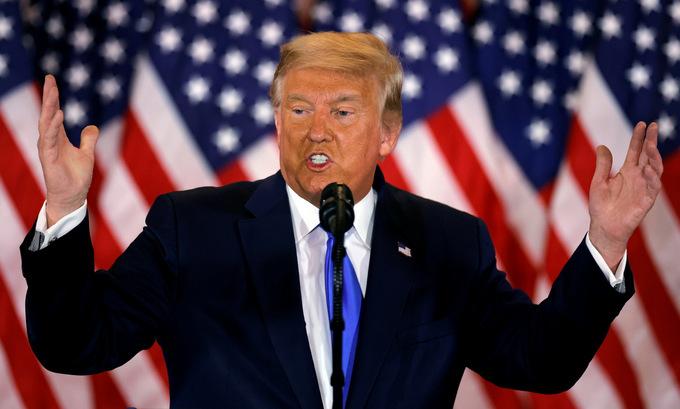 Tổng thống Trump họp báo tại Nhà Trắng hôm 4/11. Ảnh: Reuters.